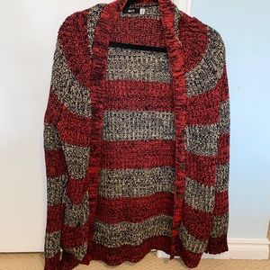 Red & Grey Knit Cardigan - size L